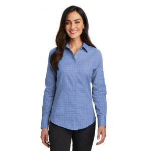 OPEN COLLAR Y PLACKET LADIES EASY CARE 3//4 SLEEVE TATTERSALL SHIRT XS-4XL